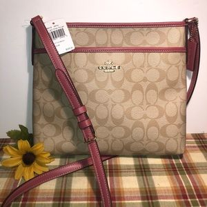 Coach File Bag Crossbody Messenger Beige Rose NEW